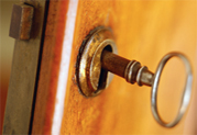 Key in lock in a door