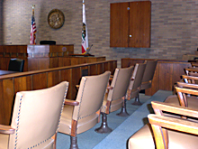 picture of the jury box in the courtroom