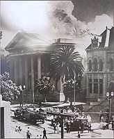 The Old Courthouse fire of 1931, Superior Court of California, County of Santa Clara. Photo courtesy of Sourisseau Academy (SJSU) negative #347