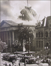 The Old Courthouse fire of 1931, Superior Court of California, County of Santa Clara. Photo courtesy of Sourisseau Academy (SJSU) negative #1831